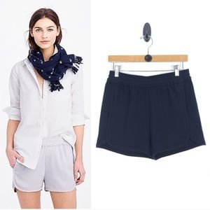 J Crew Crepe Pull-On navy dolphin-hem shorts